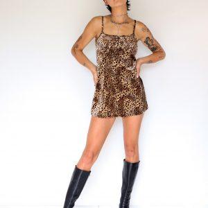 Leopard faux fur mini
